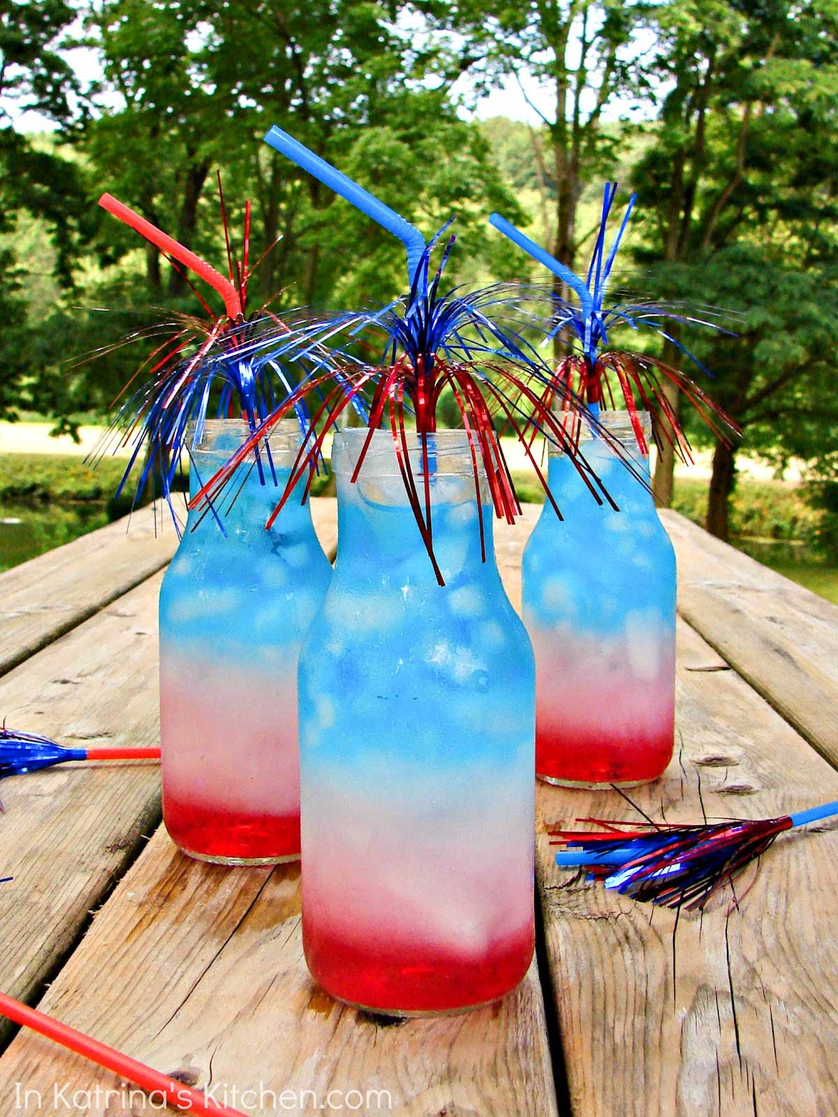 Refreshing Red White and Blue Layered Drink