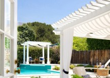 Refreshing summer poolside patio