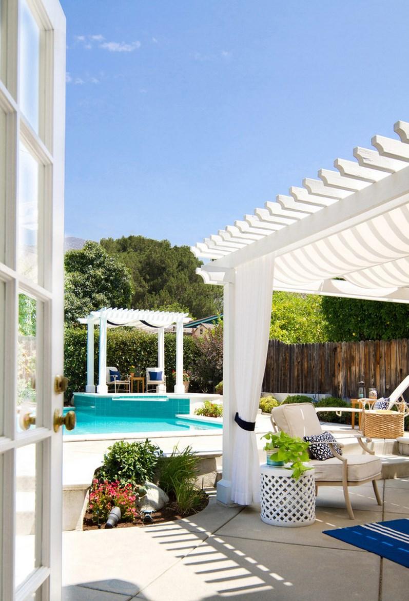 Refreshing summer poolside patio