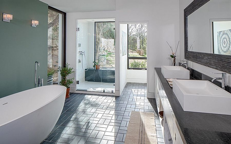 Relaxing spa-styled master bathroom in white with a cool accent wall