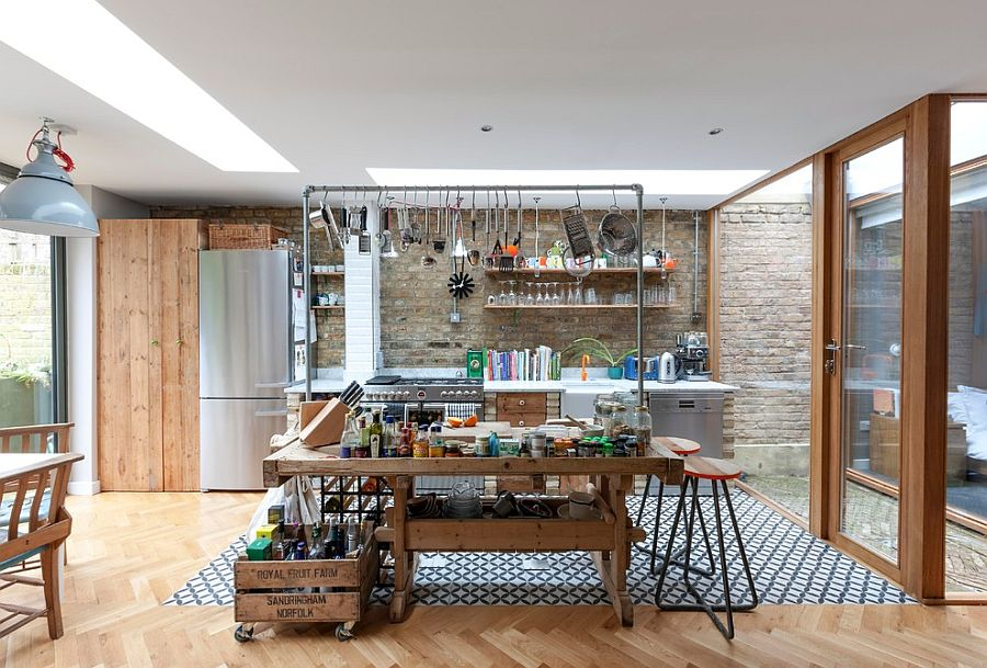 Repurposed decor is perfect for the industrial kitchen [Design: Martins Camisuli Architects]