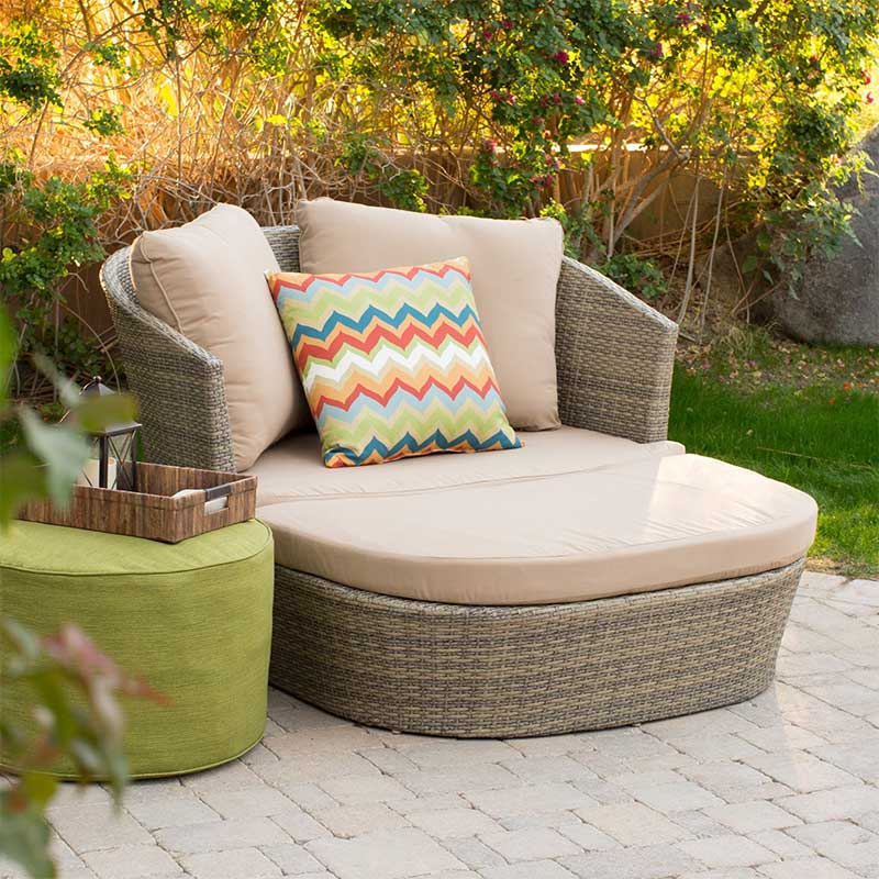 Resin Wicker Daybed with Chevron Throw Pillow
