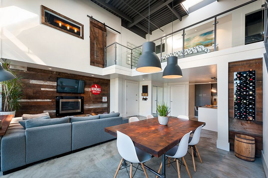 Rugged-chic pendant lights blend in with the contemporary loft style [Design: The MACNABs]