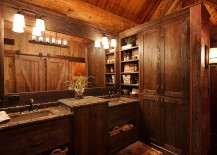 Rustic bathroom design for those who adore woodsy cabin look [Design: Lake Country Builders]
