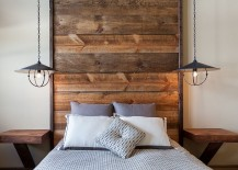 Rustic bedroom with chic industrial bedside pendants [Design: High Camp Home]