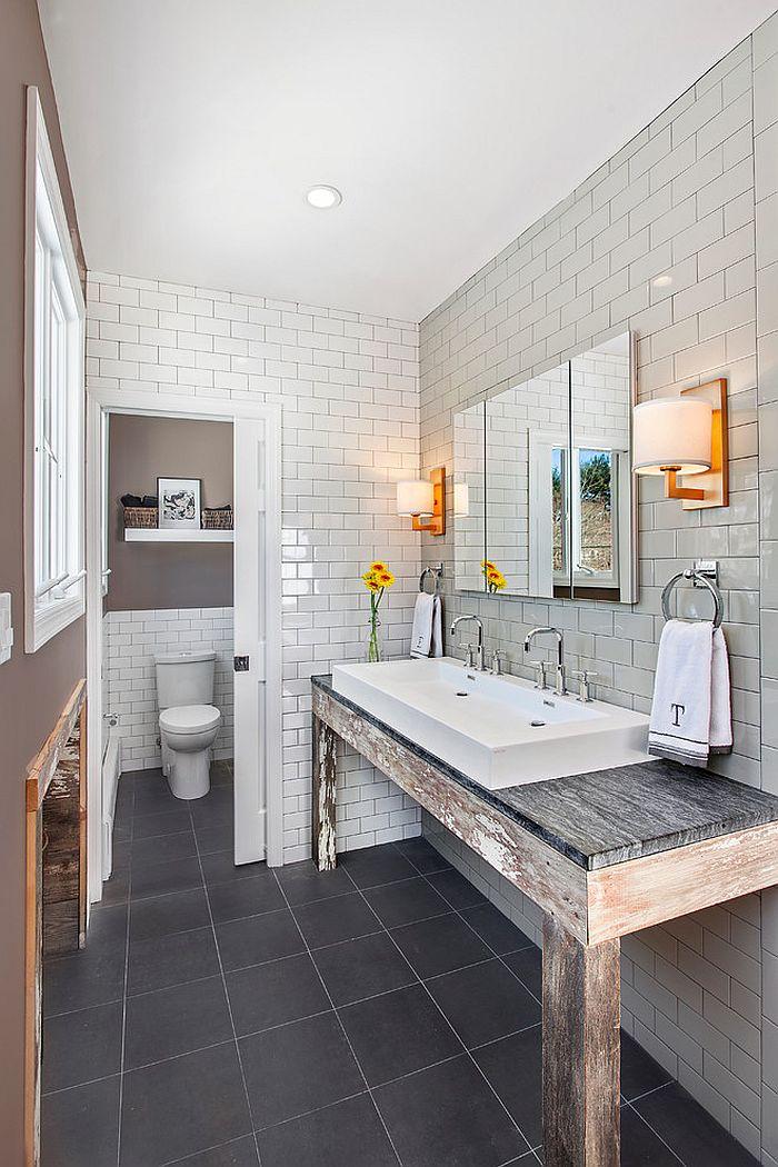 Rustic modern bathroom design with unique vanity [Design: Andrew Mikhael Architect]