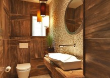 Rustic style works well even in small powder rooms [Design: At Home Design]