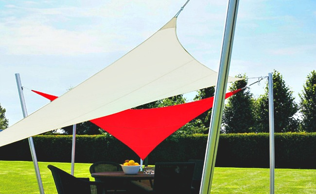Shade sails add a dynamic shape to an outdoor area