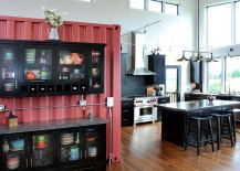 Salvaged shipping container turned into kitchen pantry! [Design: JG Development]