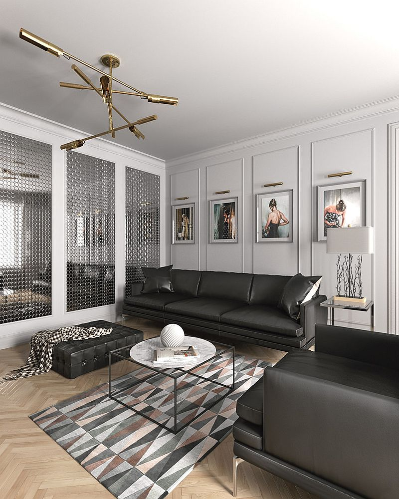 Scandinavian chic living room with interesting wall art and rug with geometric pattern [Design: Aleks.K design & visualization]