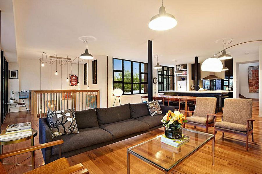 Second floor living area of the loft-styled Melbourne home