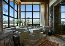 Sensational use of stone in the rustic bathroom [Design: Locati Architects]