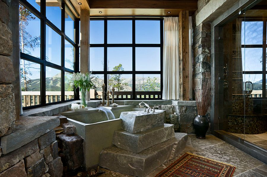 Sensational use of stone in the rustic bathroom 50 Enchanting Ideas for the Relaxed, Rustic Bathroom