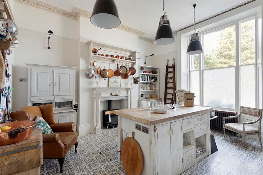 Shabby chic kitchen with smart tile flooring and industrial style lighting [From: Bruce Hemming Photography]