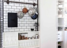 Shelves and storage idea for the small industrial kitchen [Design: Hande Koksal Interiors]