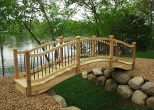 Simple garden bridge in wood