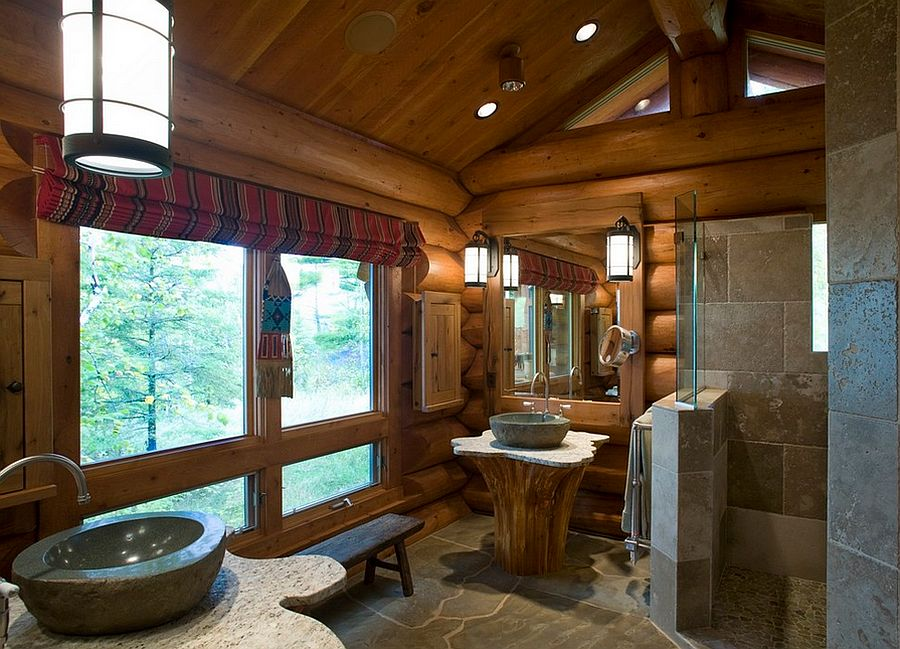 Sink pedestal with cedar tree trunk and custom granite top [Design: Bill Michels Architect]