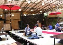 Sitting on tatami mats at Hirobun restaurant