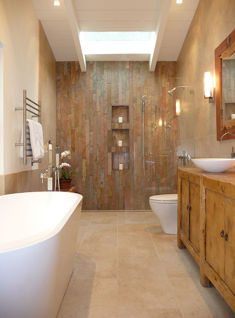 50 enchanting ideas for the relaxed rustic bathroom for Cabin shower tile ideas