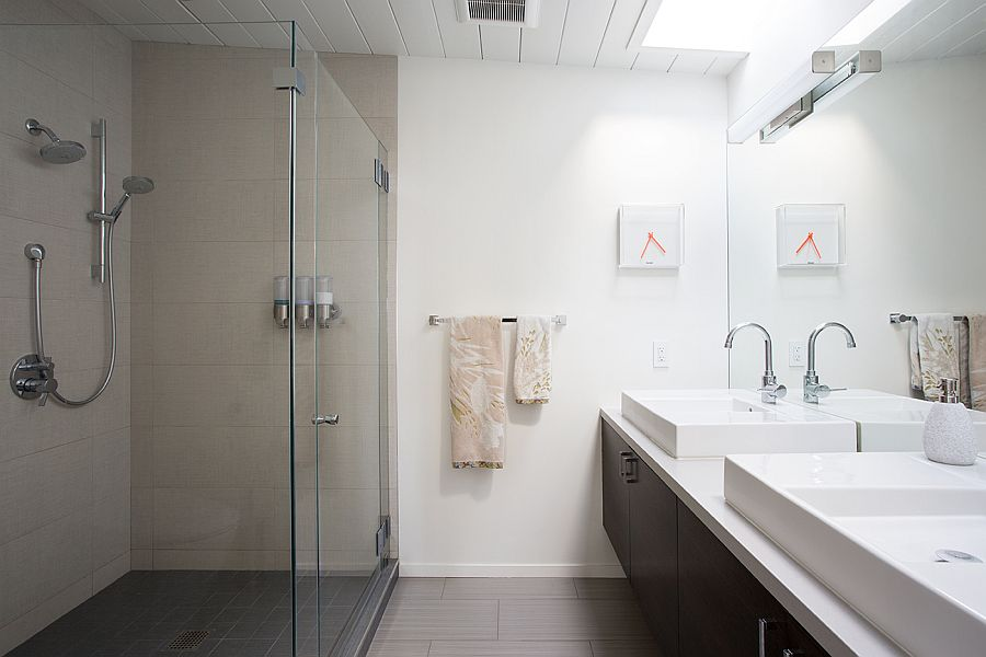 Skylight brings natural light into the contemporary bathroom