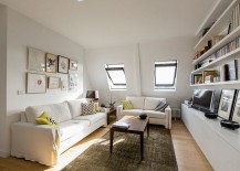 Small Scandinavian style living room with sleek shelves and natural lighting [Design: Philippe Demougeot]