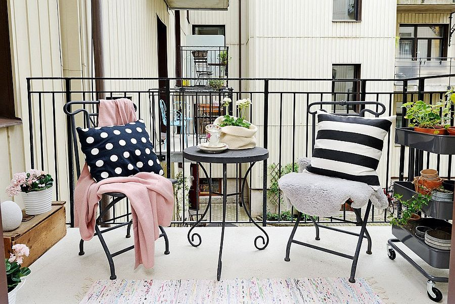 Small balcony of the Scandinavian home