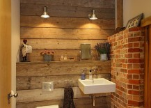 Small bathroom with brick wall and touch of wooden warmth [Design: Hampshire Light]