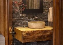 Small custom vanity for the elegant rustic bathroom [Design: Greenauer Design Group]