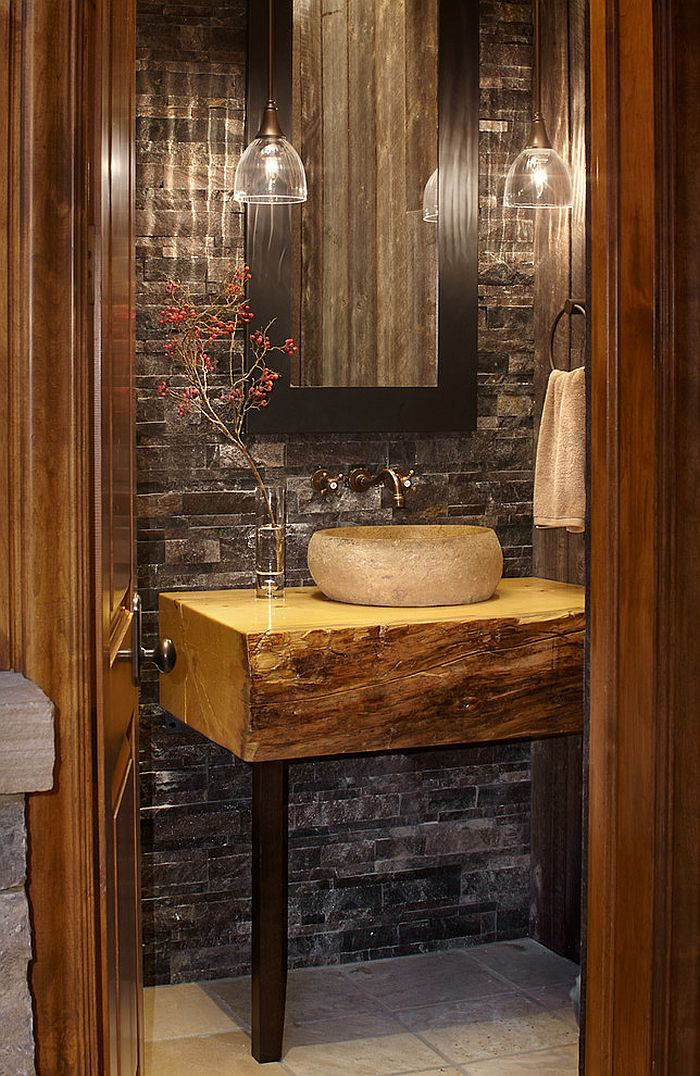 Small custom vanity for the elegant rustic bathroom [Design: Greenauer Design Group]