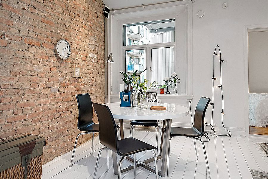 Small dining space with string lighting in the backdrop