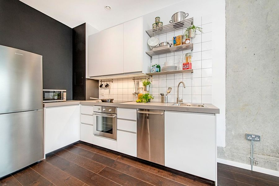 Small industrial chic kitchen in tiny London home [From: Fresh Photo House]