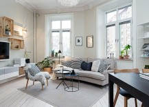 Small living room decorating idea in Scandinavian style