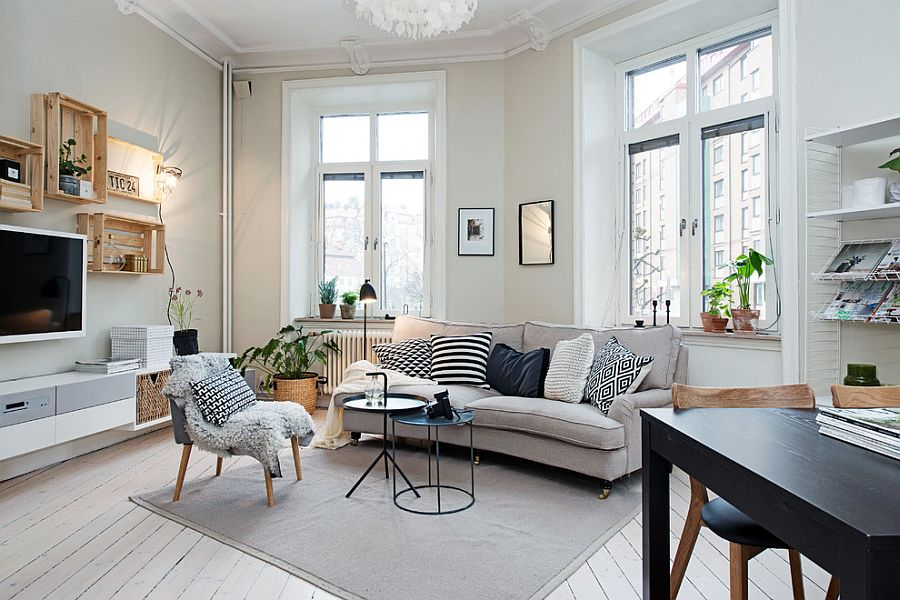 50 chic scandinavian living rooms ideas inspirations for Small apartment living room interior design