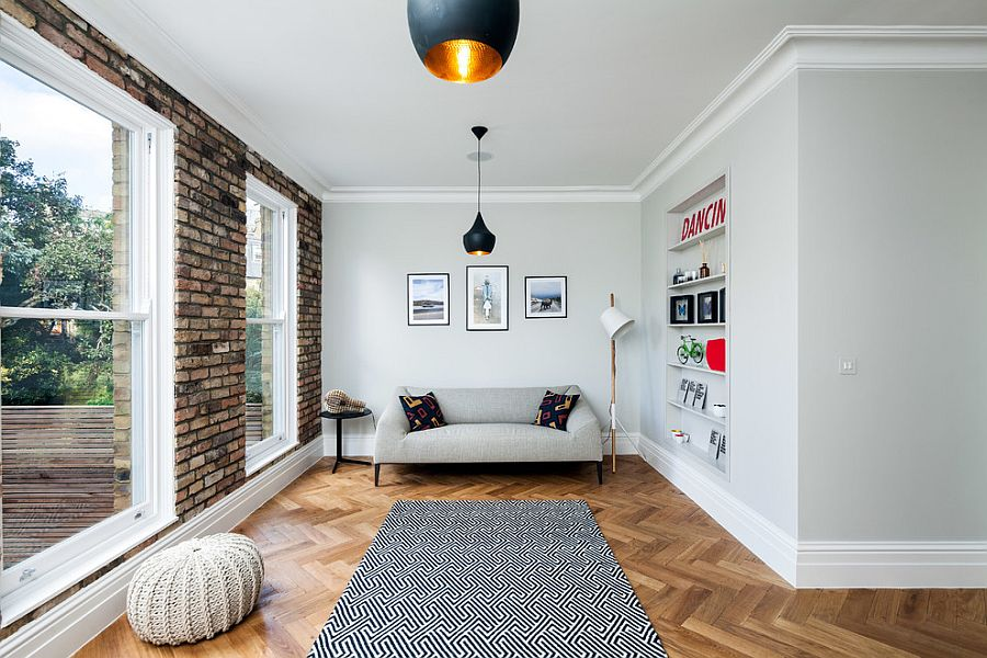Small Living Room With Brick Wall And Tom Dixon Pendants From David Butler Photography