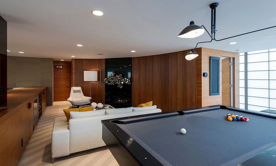 Smart game room and hangout with pool table