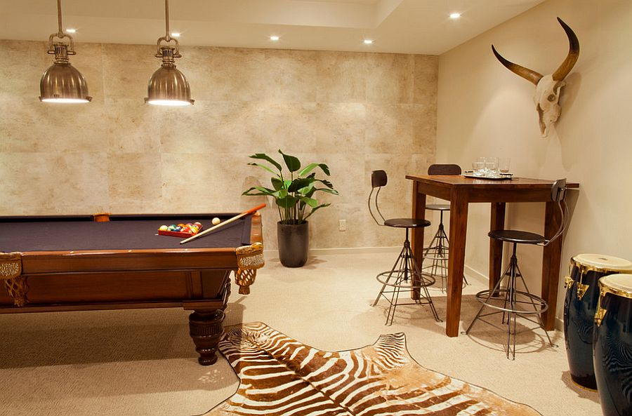Smart light above the pool table combine form with functionality [Design: Leighton Design Group]