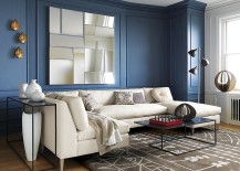 Smoky blue room with blue trim