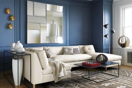 Smoky blue room with blue trim