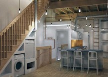 Space-Saving-Laundry-and-Pet-Bed-Area-Under-Stairs-217x155