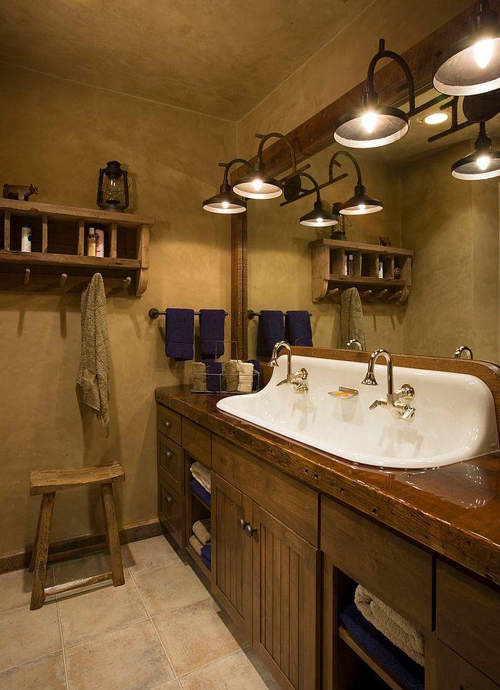 Sparkling sink seems perfect for the dark, rustic bathroom [Design: Locati Architects]