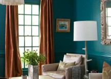Striking teal room with teal trim 217x155 Painting and Design Tips for Dark Room Colors