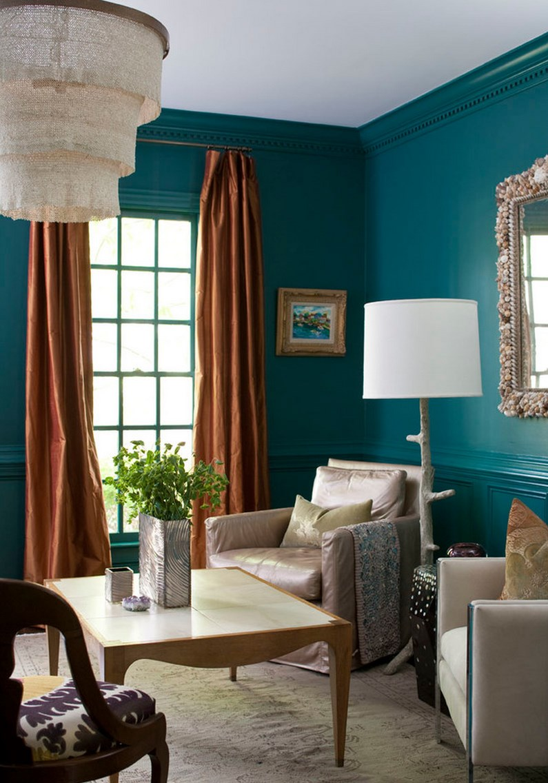 Striking teal room with teal trim