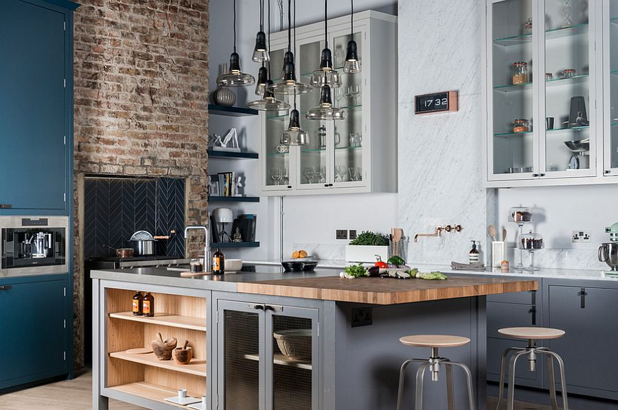 100 awesome industrial kitchen ideas for Deco cuisine avec chaise blanche et noir