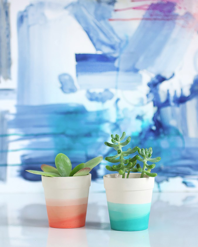Succulents in dip-dyed pots  Summer Party Ideas for a Festive Season Succulents in dip dyed pots