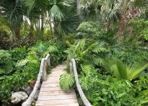 Suspension style bridge with rope is perfect for that fabulous tropical backyard