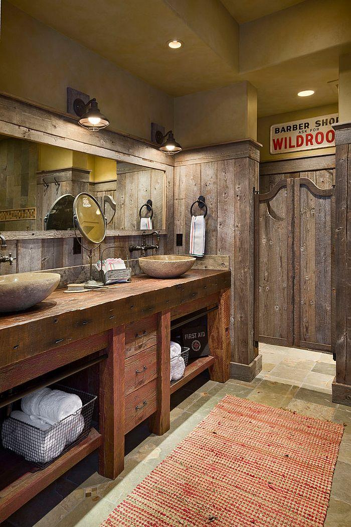 Swinging saloon doors for the stylish, rustic bathroom [Design: Locati Architects]