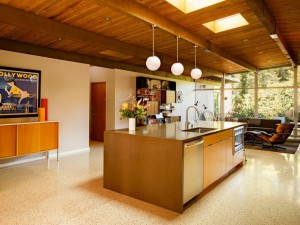 Terrazzo tile in a warm-toned modern kitchen