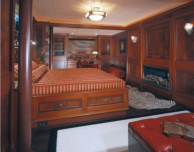 Elegant bedroom of the Tiara Yacht