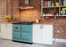 Tiny-kitchen-with-a-brick-wall-backdrop-and-open-shelf-217x155