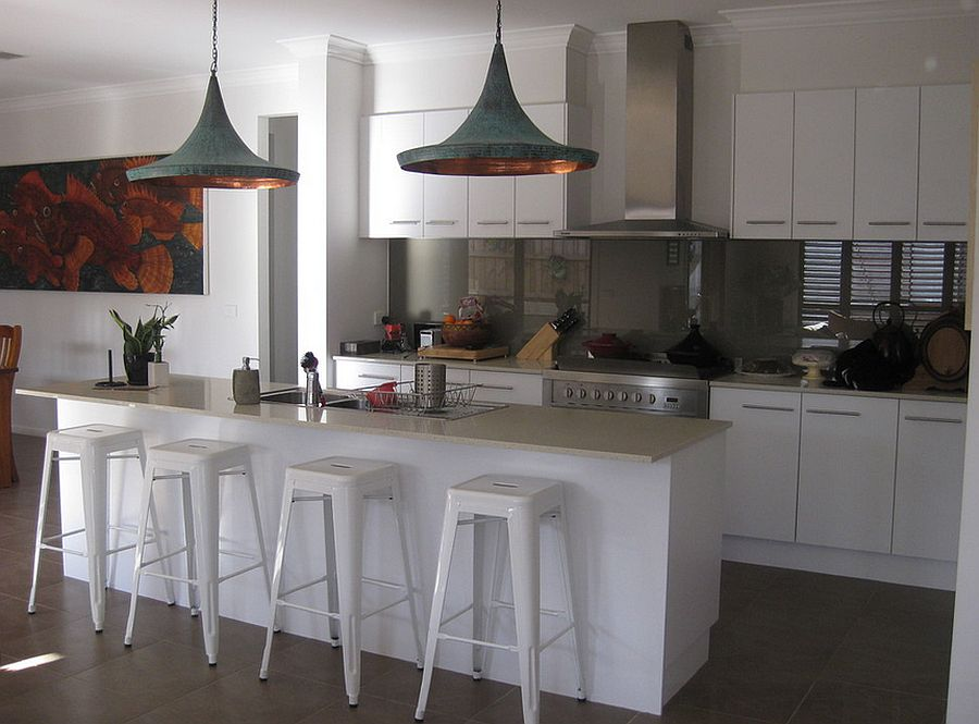 Tom Dixon Replica Pendants from Overseas steal the show in this kitchen [Design: Adriana]